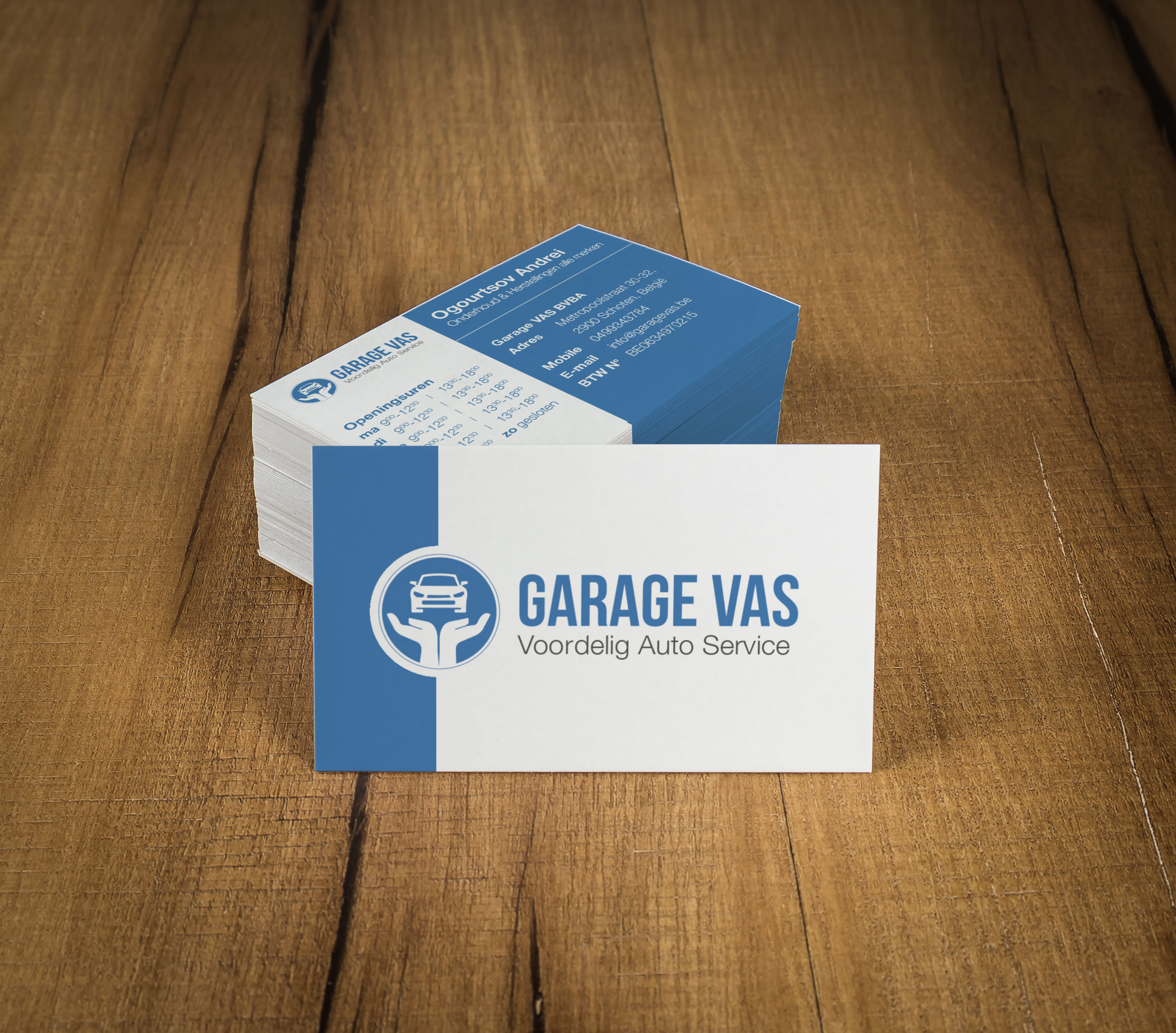 Mockup of white business cards at wooden background. Template fo